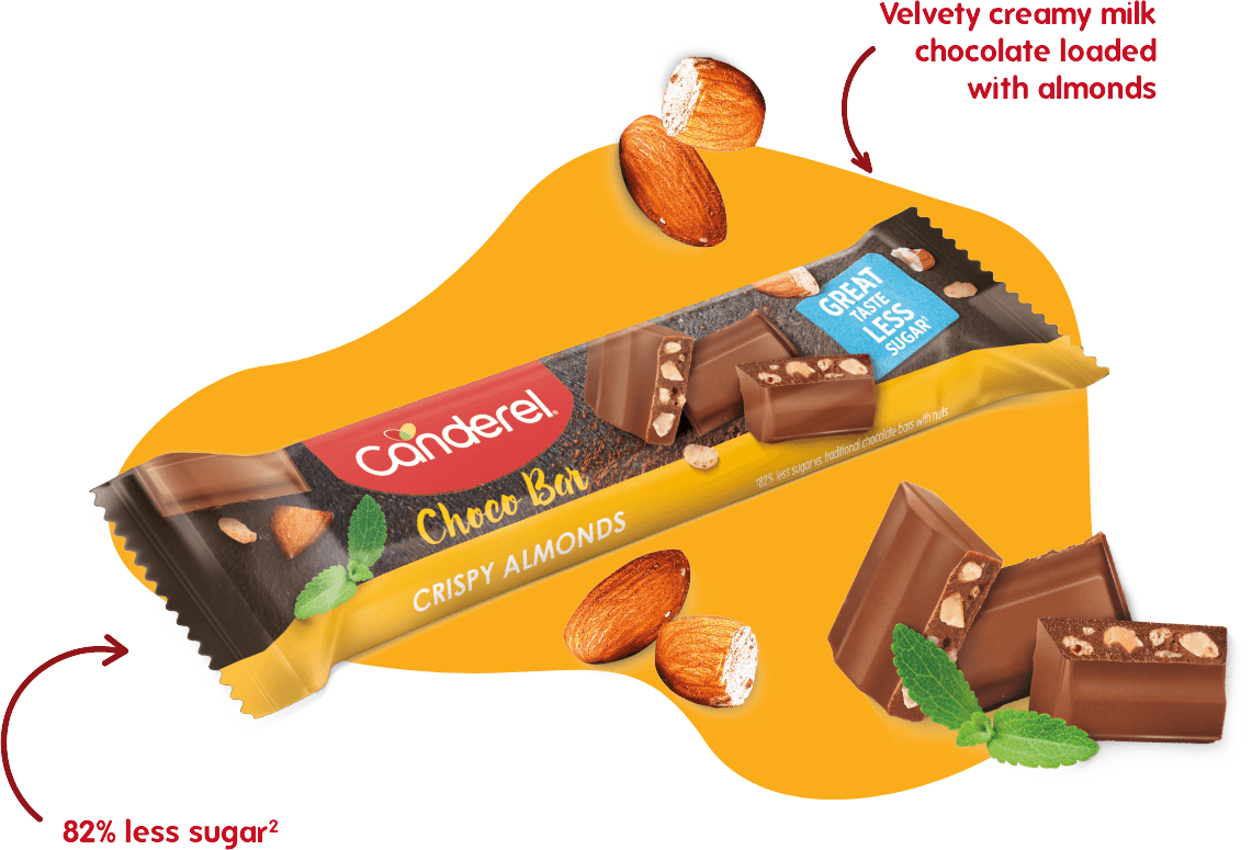 An image of the Canderel® Choco bar filled with crispy almonds with 82% less sugar