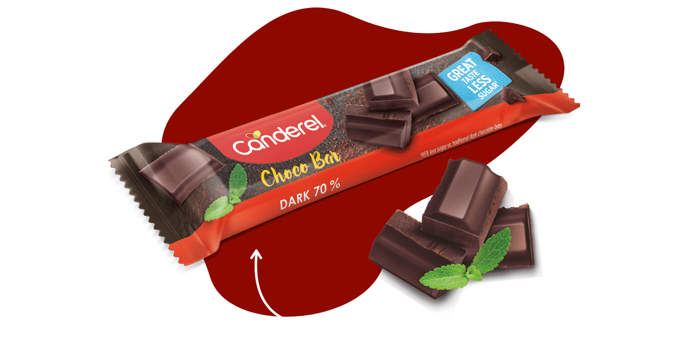 An image of the Canderel® Choco bar made from 70% dark cocoa but with 95% less sugar